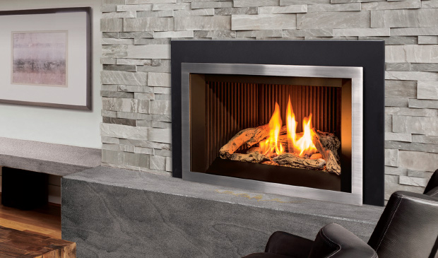 Enviro E33 clean face gas insert with log burner